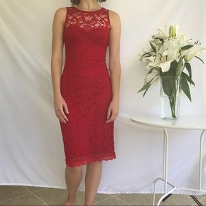 Sexy and gorgeous all red lace bodycon dress 🍒